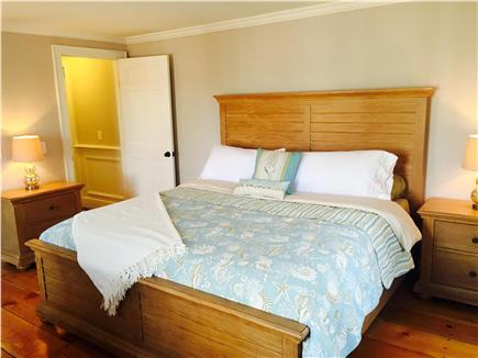 Brewster on Orleans border Cape Cod vacation rental - King bedroom with plush mattress, linens first floor