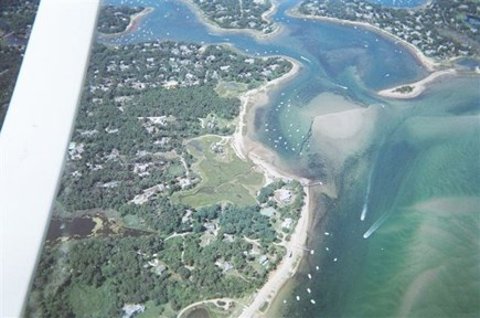 North Chatham Cape Cod vacation rental - Aerial Shot in 2013 - House WSW of Beach and Surrounded by Marsh