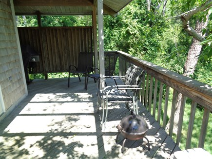 Wellfleet Cape Cod vacation rental - Deck outside of kitchen/dining area with gas grill around corner