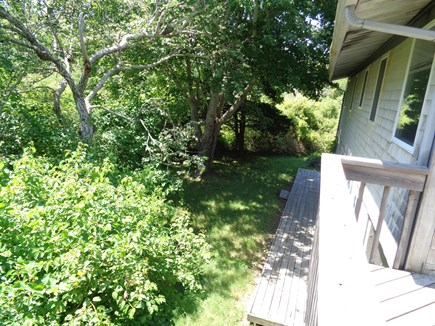 Wellfleet Cape Cod vacation rental - Looking down at the back yard accessible from the sliders on LL