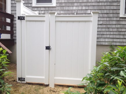 South Dennis Cape Cod vacation rental - Enclosed outdoor shower with changing area.