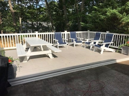 Dennis Cape Cod vacation rental - Relax and enjoy dinner or a cocktail on this secluded deck.