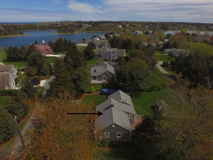 Orleans, Eastham Cape Cod vacation rental - Aerial of house with private beach/water in the distance