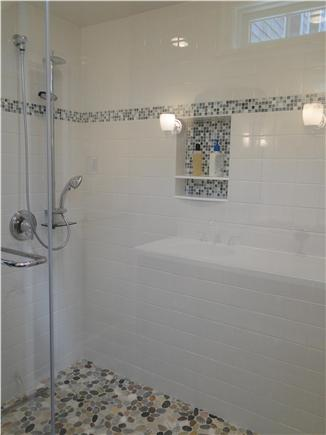 Orleans Cape Cod vacation rental - Master bath walk in shower, pebble floor