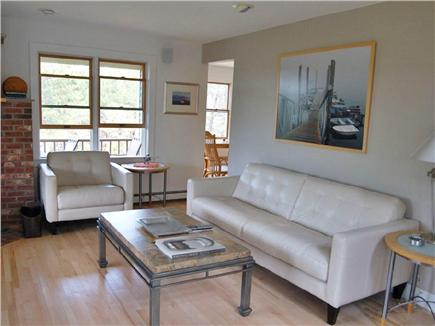 Truro Cape Cod vacation rental - A shaded living room with many windows,fresh breezes,tree views