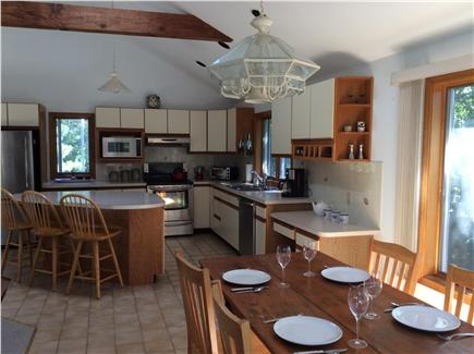 N. Truro Cape Cod vacation rental - Farm table and eat-in kitchen, great for large and small dinners