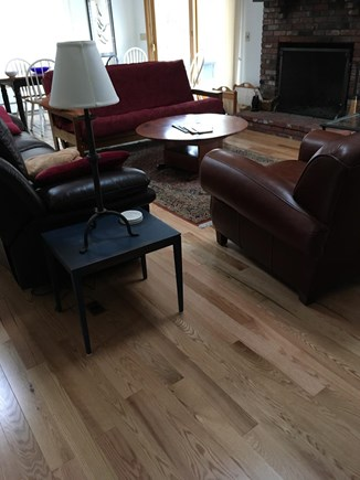 N. Truro Cape Cod vacation rental - New hardwood flooring and comfy leather couches in great room