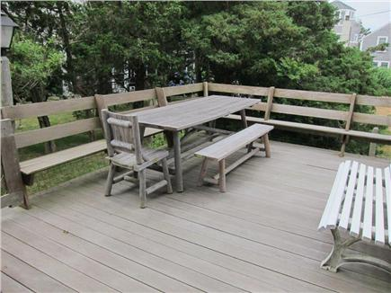 Falmouth, Menauhant Cape Cod vacation rental - Large back sundeck for gatherings.  Morning  sun and peace.