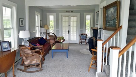 Falmouth, Menauhant Cape Cod vacation rental - Family room, fireplace, TV,  board games