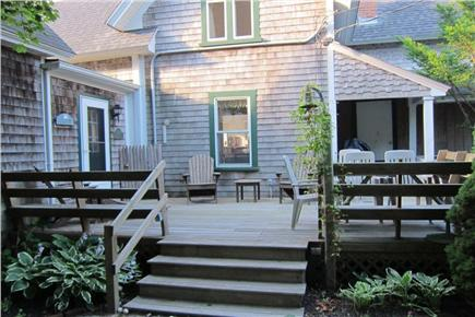 Falmouth, Menauhant Cape Cod vacation rental - Family deck with adirondacks, grill, and picnic table.