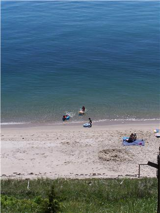 North Truro Cape Cod vacation rental - View from deck of guests swimming on our beach