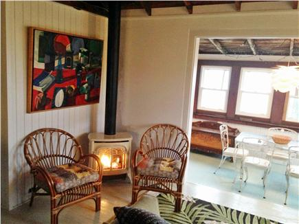 North Truro Cape Cod vacation rental - Living room with fireplace