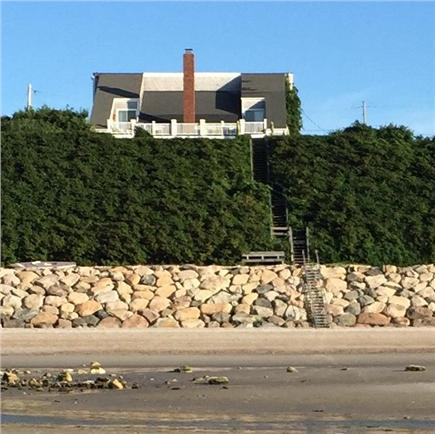 Dennis Cape Cod vacation rental - View of the Bayfront home on a private beach at low tide