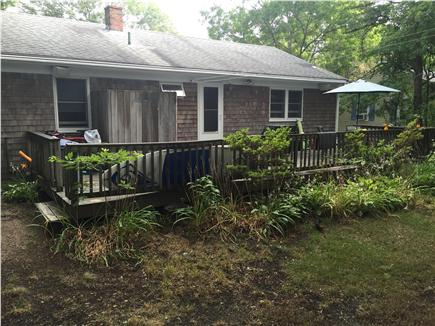 New Seabury, Popponesset New Seabury vacation rental - Full view of back of house, small yard, hammock, shower, porch.