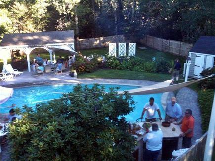 Dennis Village Cape Cod vacation rental - Outdoor kitchen & bar  lwr right, pavillon  opposite side of pool