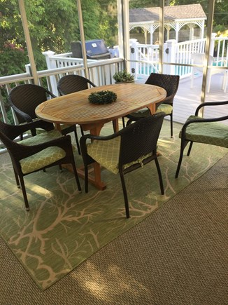 Dennis Village Cape Cod vacation rental - Dine-in screened porch near pool. Table expands as needed