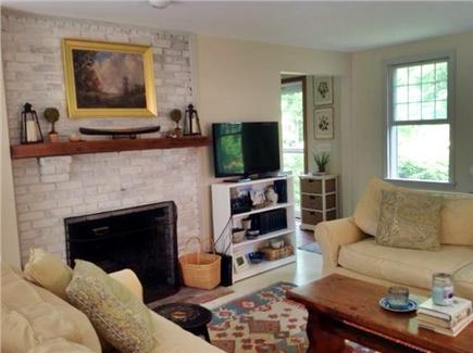 Brewster Cape Cod vacation rental - Living room showing fireplace