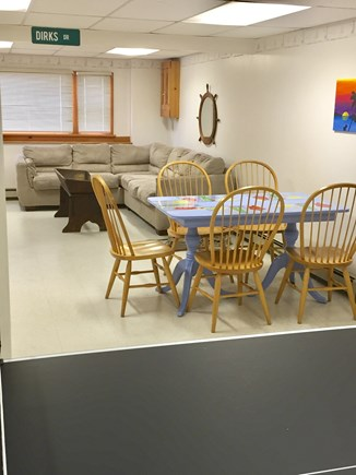 Eastham Cape Cod vacation rental - Basement with couch, ping pong table, table/chairs and full bath