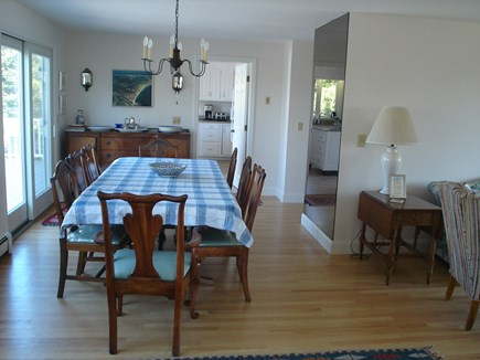 Chatham Cape Cod vacation rental - Charming dining space overlooks deck - wall mirror reflects view