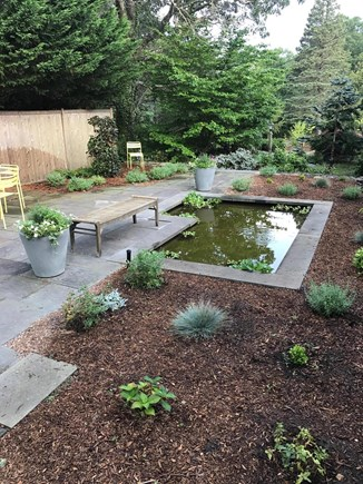 Orleans Cape Cod vacation rental - Bluestone terrace with shallow (3 inches deep) goldfish pond