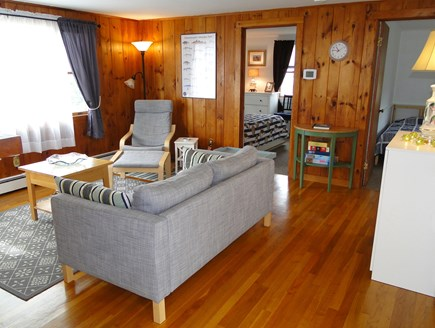 Wellfleet Cape Cod vacation rental - Living room view from kitchen, showing bedrooms