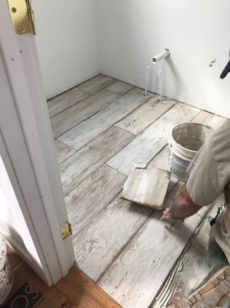 Harwich Port Cape Cod vacation rental - 1st fl powder room - tile going in