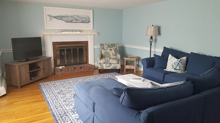 South Harwich Cape Cod vacation rental - Extra comfy chaise sectional - cozy up with the whole fam
