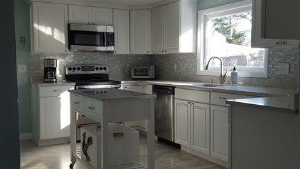 South Harwich Cape Cod vacation rental - Bright new kitchen with recycled seashell countertops!