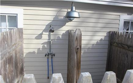 Dennis Port Cape Cod vacation rental - Outdoor shower with changing area and light for night showers