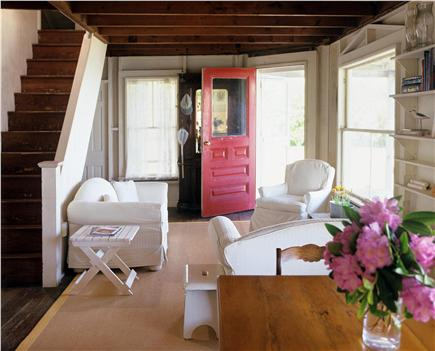 North Chatham Cape Cod vacation rental - Living Room with stairs to upper level