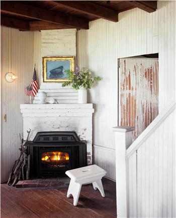 North Chatham Cape Cod vacation rental - Living Room Fireplace