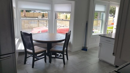Harwichport Cape Cod vacation rental - Main house breakfast nook overlooking pool