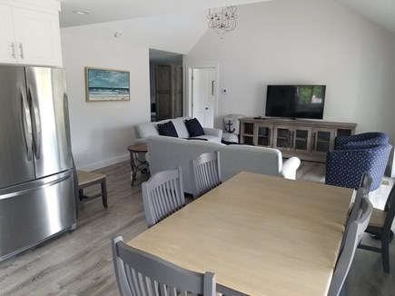 Harwichport Cape Cod vacation rental - Poolhouse kitchen and living room.
