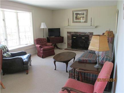 Brewster--Sheep Pond Cape Cod vacation rental - The living room and its bay window.