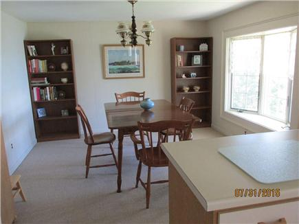Brewster--Sheep Pond Cape Cod vacation rental - The dining room and its bay window.