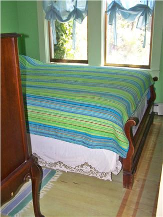 Truro Cape Cod vacation rental - 1st floor bedroom, hand-stenciled yellow pine wide board floor