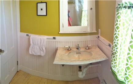 Truro Cape Cod vacation rental - 1st floor bath, 19th century claw tub and marble wall sink