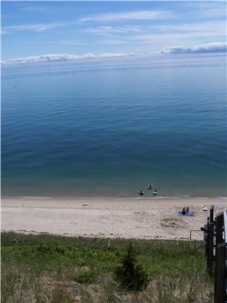 Truro Cape Cod vacation rental - View of guests enjoying beach, seen from top of bluff