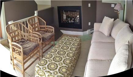 Truro Cape Cod vacation rental - Living room with fireplace