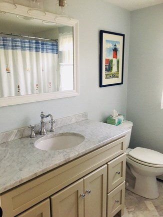 Eastham Cape Cod vacation rental - First floor bathroom with tub and shower.