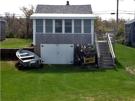 Plymouth MA vacation rental - Cottage view frrom the beach, Many windows,10 steps to porch