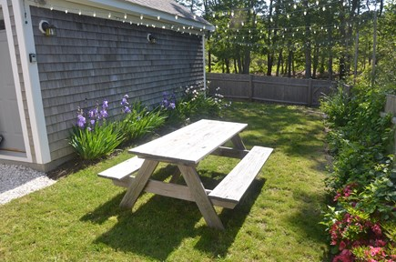 North Eastham Cape Cod vacation rental - Private backyard with picnic table and festive lighting.