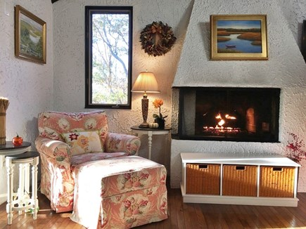 Eastham Cape Cod vacation rental - Living room w/ gas fireplace (available in June and September)