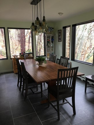 Eastham Cape Cod vacation rental - Oak dining table with woodland views