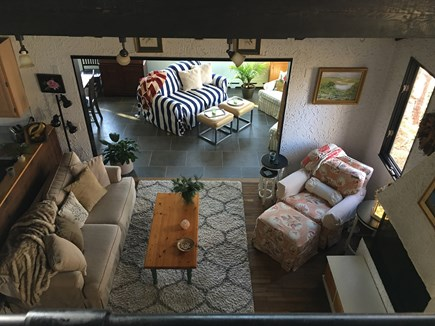 Eastham Cape Cod vacation rental - Viewing living room and sun porch from the loft