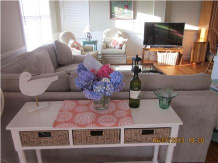 Orleans Cape Cod vacation rental - Open living area with comfortable sectional couch, TV