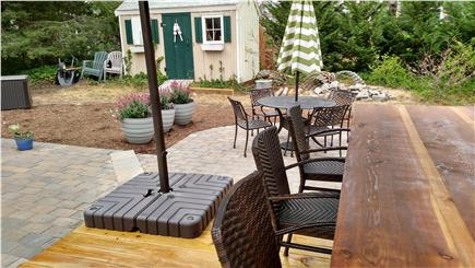 Brewster Cape Cod vacation rental - Cedar outdoor bar and expansive deck.