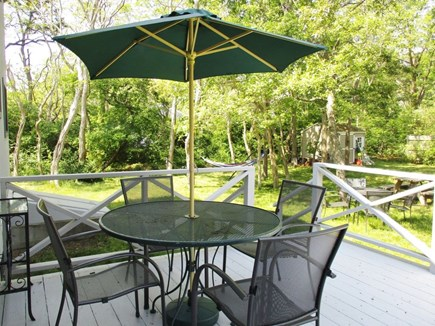 Eastham Cape Cod vacation rental - Large deck has outdoor seating for a.m. coffee and p.m. cocktails