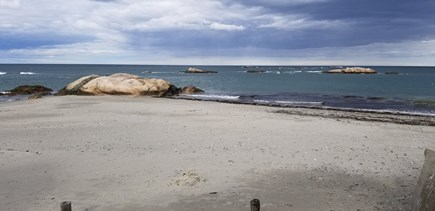 Scituate MA vacation rental - View in front of Bar Rock Apartment on beach