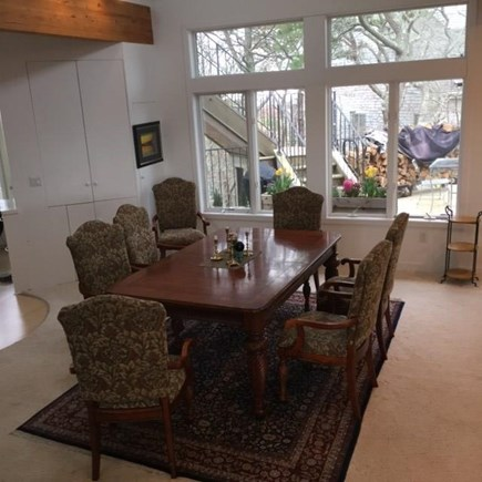 Provincetown Cape Cod vacation rental - Large Dining room table for 8 looking out on dining deck